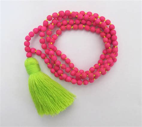 pink beaded tassel necklace chunky lime green tassel