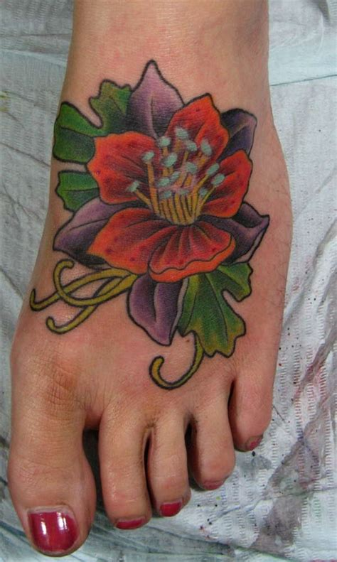 polynesian foot tattoo designs hawaiian tattoos especially flower design with