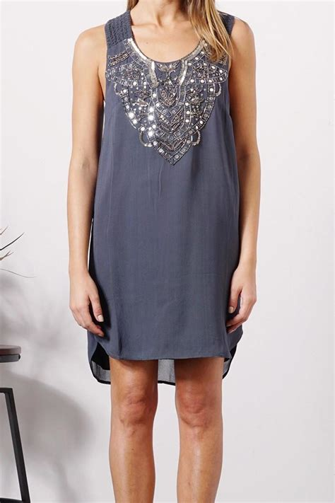greylin grey beaded dress from by le marche