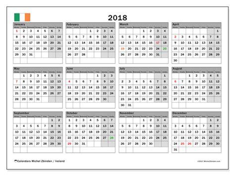 Calendar 2018 Ireland With Bank Holidays Calendar 2018 Ireland