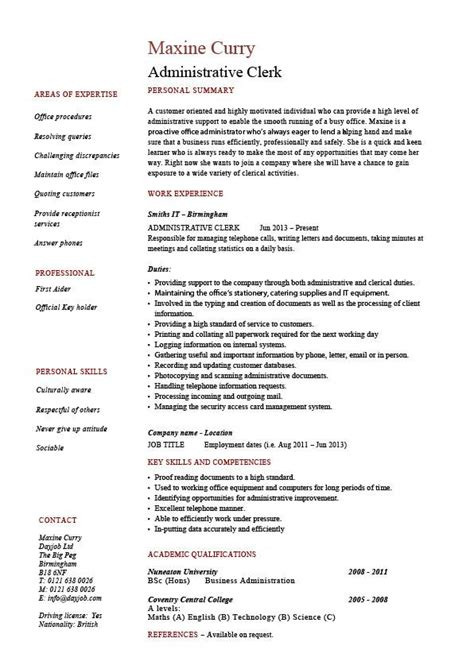 administrative clerk resume clerical sle template description clerical duties expertise