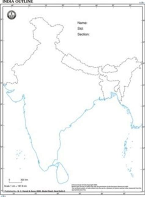 India Physical Map Outline In A4 Size by World Maps Manufacturer World Maps Supplier Exporter