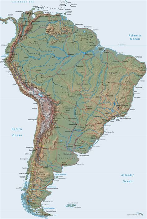 relief map of america large detailed relief map of south america south america