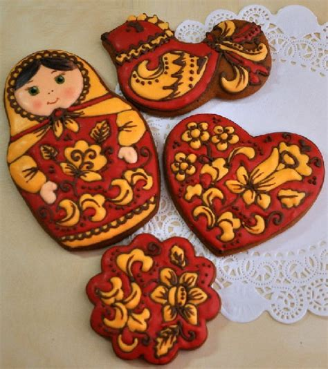 russian crafts an set of gingerbread painted in the style of