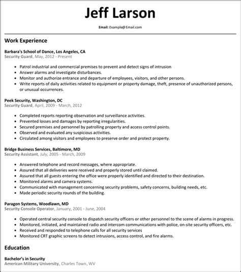 resume format for security guard security guard resume