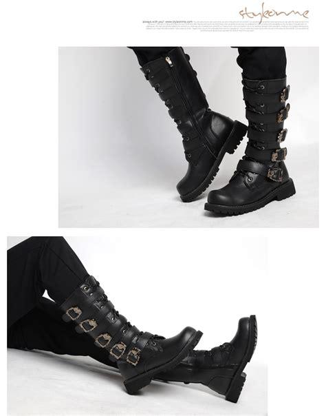 mens buckles lace up block heel mid calf boots