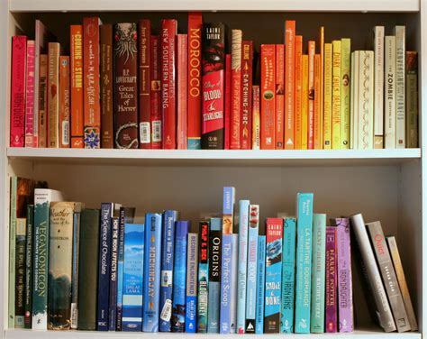 rainbow bookshelves acquired oh the books
