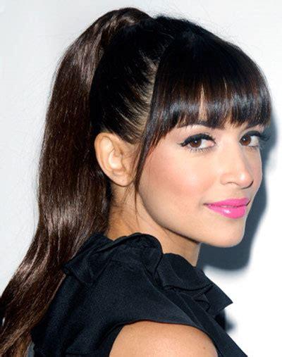 hairstyles bangs ponytails hannah simone s fun high ponytail with blunt bangs hair