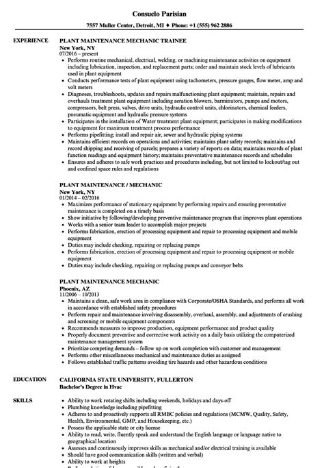 Plant Mechanic Sle Resume by Best General Maintenance Technician Cover Dental Administrator Sle Resume