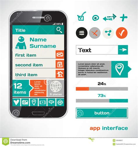 app design elements vector set of vector mobile flat ui elements design sketch theme