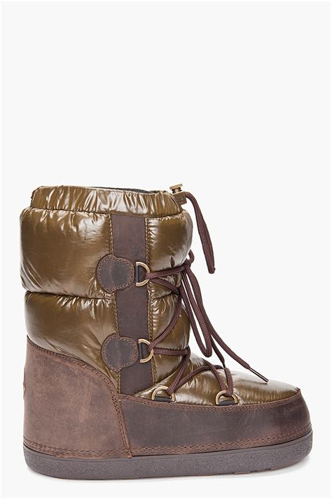 moncler boots moncler moon boots in brown for lyst
