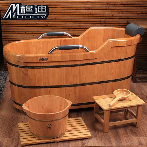barrel bathtub mudi wood oak barrel 1 6m tub bath bucket bathtub deluxe armrest set jpg