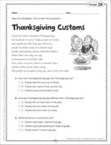 thanksgiving reading passages thanksgiving reading comprehension worksheets