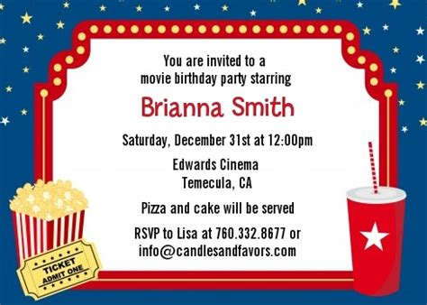 Movie Theater Birthday Party Invitations Candles And Favors Theater Invitation Template