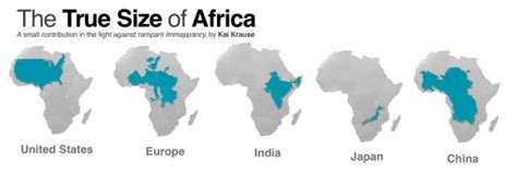 africa map distortion here s how africa has more area than usa europe china