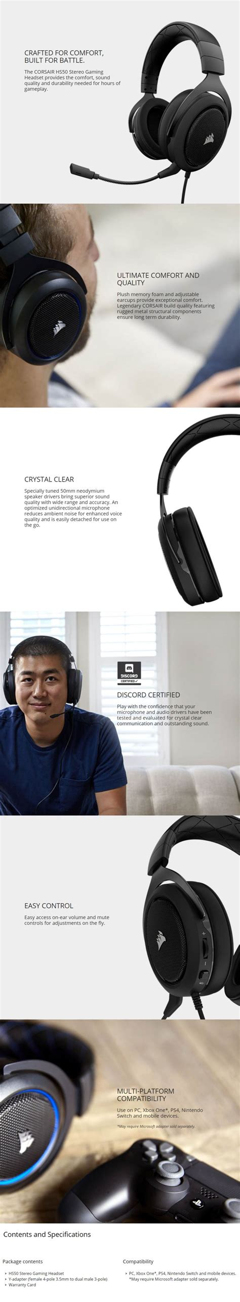 Corsair Hs50 Stereo Gaming Headset Carbon corsair hs50 stereo gaming headset carbon ca 9011170
