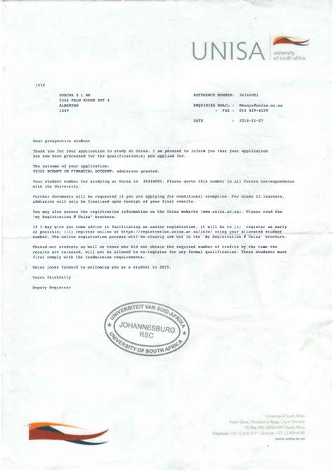 Credit Form Unisa Unisa Documents