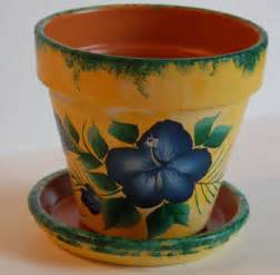 Flower Pots Designs 6 Or 8 Hand Painted Clay Flower Pot Tropical By