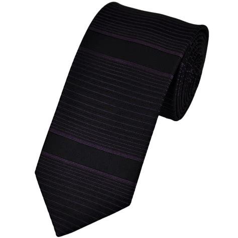 purple black thin horizontal striped silk narrow tie