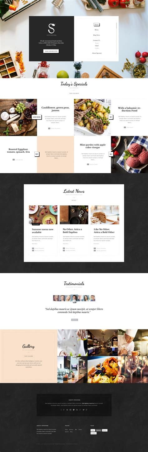 wordpress themes design inspiration spooner restaurant bar wordpress theme on inspirationde