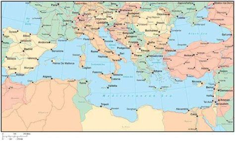 multi color mediterranean map  countries major cities