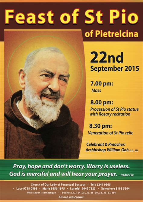 Feast Release September 22 by Feast Of St Pio Church Of Our Of Perpetual Succour