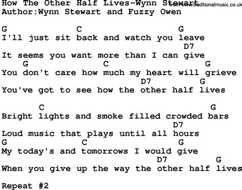 pattern lyrics other lives country music how the other half lives wynn stewart lyrics