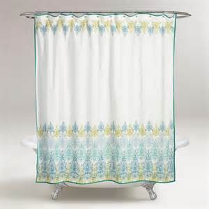 blue green print shower curtain world market