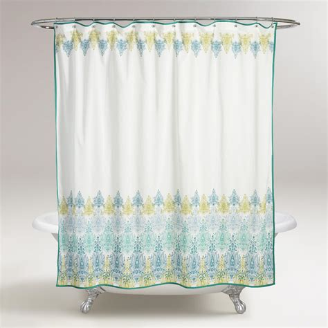 blue green shower curtains blue green print shower curtain world market