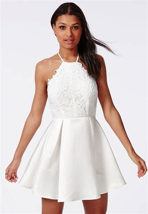 Ftnol White Lowback Dress All Size lace halterneck skater dress white dresses skater