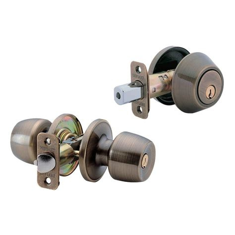 Deadbolt With Knob by Kwikset Juno Antique Brass Exterior Entry Knob And Single