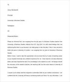 Resignation Letter Sle Because Of School Resignation Letter 8 Documents In Pdf Word