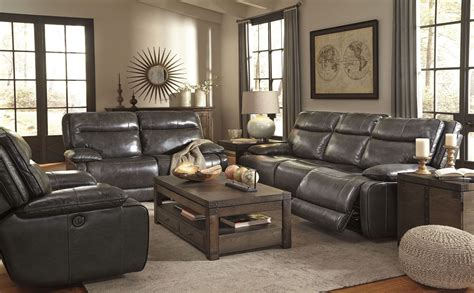 reclining living room sets palladum metal power reclining living room set from ashley u7260187 coleman furniture