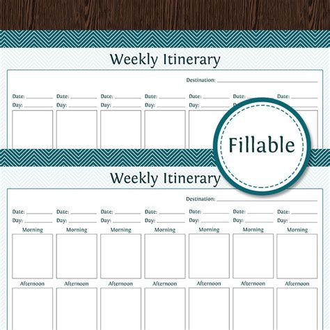 printable weekly vacation planner travel planner weekly itinerary week overview fillable