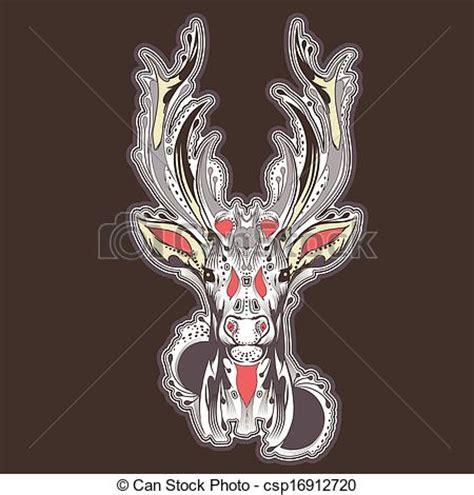 vector illustration of deer head tattoo design csp16912720