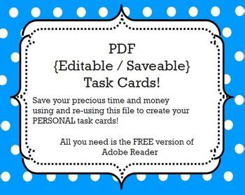 Free Editable Card Template by Task Cards Template Editable Savable Pdf By Ms Nylak Tpt