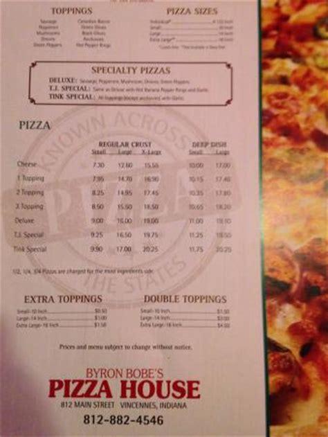 pizza house menu menu picture of byron bobe s pizza house vincennes tripadvisor