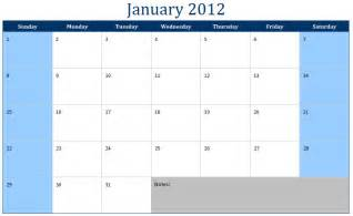 Printable Monthly Calendar Templates by January 2012 Calendar January 2012 Calendar Printable