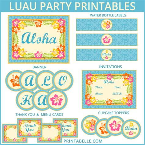 luau party printables and more party printable