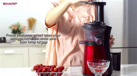Juicer Sharp mudah membuat sorbet strawberry banana dengan juicer