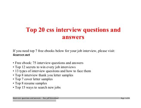 html5 tutorial interview questions top css interview questions and answers job interview tips