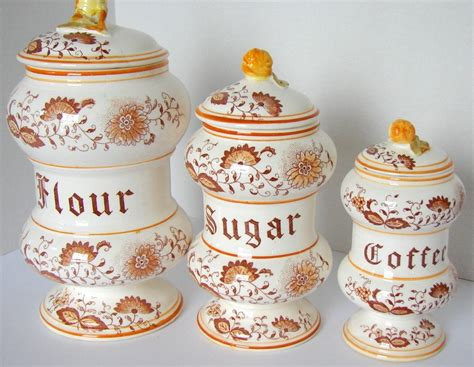 vintage ceramic kitchen canisters vintage braun ceramic kitchen canisters