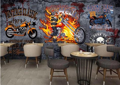 motorcycle wall murals custom mural 3d photo wallpaper vintage motorcycle bar decorpainting picture 3d wall murals