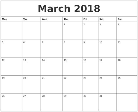 printable monthly calendar starting monday march 2018 printable calendar pdf