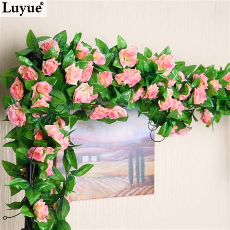 ivy home decor m artificial silk rose fake flower ivy leaf garland plants