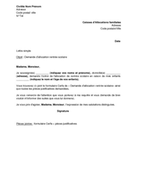 lettre demande de soutien scolaire lettre de demande d allocation rentr 233 e scolaire 224 la caf mod 232 le de lettre gratuit exemple de