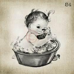 adorable vintage baby in bath large digital