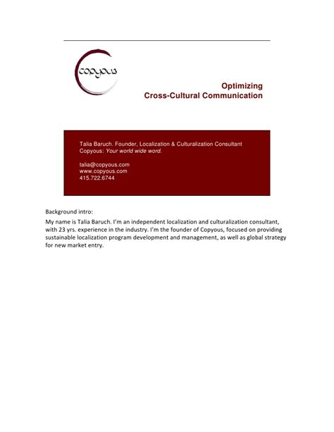 Cross Cultural Management Mba Notes by Cross Cultural Communication Notes