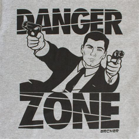 Tees Danger Zone black and gray archer danger zone shirt tvmoviedepot