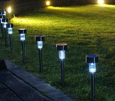 solar power lighting outdoor patio path lights photo pixelmari
